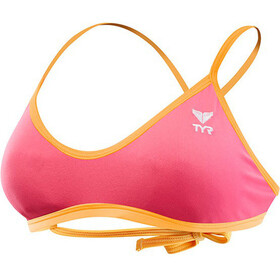 TYR Solid Crosscut Tieback Bikini Top Women fluo pink/orange